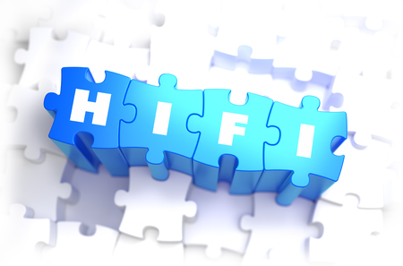 fidelity: HiFi - High Fidelity - White Word on Blue Puzzles on White Background. 3D Illustration.