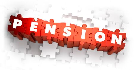 subsidize: Pension - White Word on Red Puzzles on White Background. 3D Render.