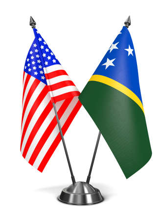 solomon: USA and Solomon Islands - Miniature Flags Isolated on White Background.
