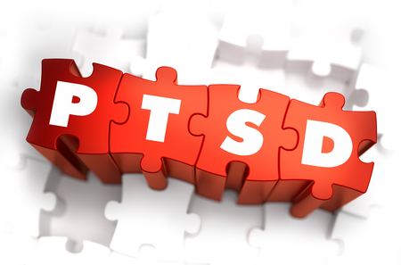 traumatic: PTSD - Post Traumatic Stress Disorder - White Word on Red Puzzles on White Background. 3D Render. Stock Photo