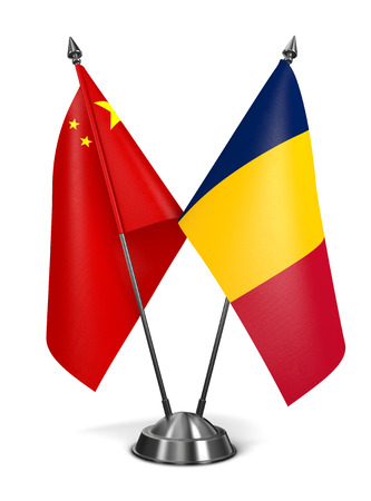 chadian: China and Chad - Miniature Flags Isolated on White Background.