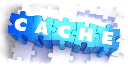 cache: Cache - White Word on Blue Puzzles on White Background. 3D Illustration.