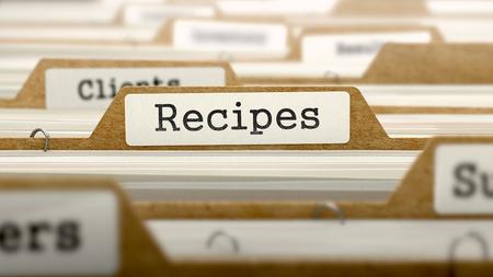 categorized: Recipes Concept. Word on Folder Register of Card Index. Selective Focus.