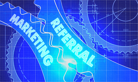 referral marketing: Referral Marketing Concept. Blueprint Background with Gears. Industrial Design. 3d illustration, Lens Flare. Stock Photo