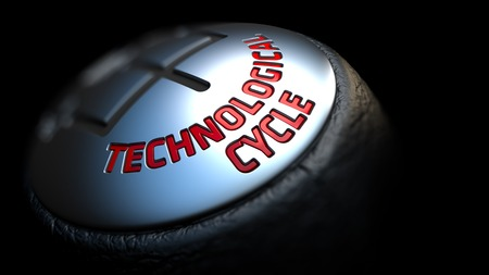 technological: Technological Cycle - Red Text on Cars Shift Knob on Black Background. Close Up View. Selective Focus.