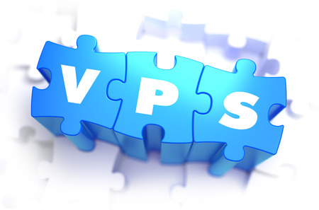 private domain: VPS - Virtual Private Server - White Word on Blue Puzzles on White Background. 3D Illustration.