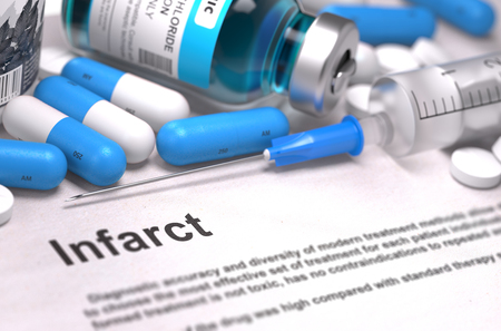 infarct: Diagnosis - Infarct. Medical Concept with Blue Pills, Injections and Syringe. Selective Focus. Blurred Background.