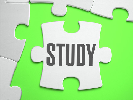 Study - Jigsaw Puzzle with Missing Pieces. Bright Green Background. Close-up. 3d Illustration.