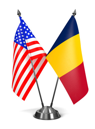 chadian: USA and Chad - Miniature Flags Isolated on White Background. Stock Photo
