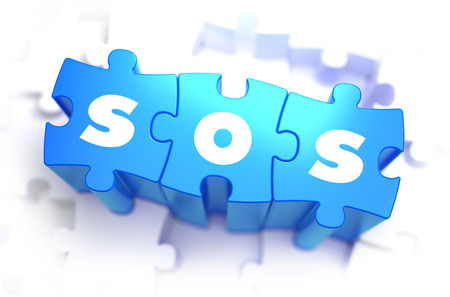 miserable: SOS - Save Our Souls - White Word on Blue Puzzles on White Background. 3D Render. Stock Photo