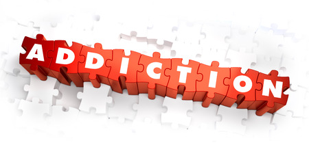 rehab: Addiction - White Word on Red Puzzles on White Background. 3D Illustration.