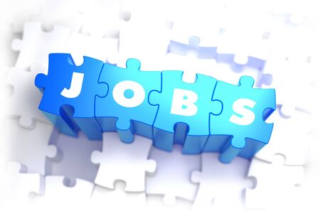 selective: Jobs - White Word on Blue Puzzles on White Background and Selective Focus. 3D Render.