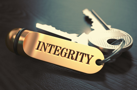 sanctity: Integrity Concept. Keys with Golden Keyring on Black Wooden Table. Closeup View, Selective Focus, 3D Render. Toned Image.