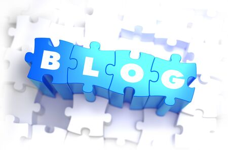 Blog - White Word on Blue Puzzles on White Background. 3D Illustration.