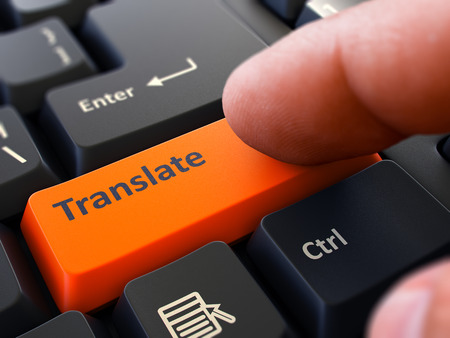 consecutive: Translate Concept. Person Click on Orange Keyboard Button. Selective Focus. Closeup View.