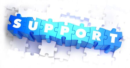 financial advice: Support - White Word on Blue Puzzles on White Background. 3D Render.