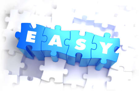 readily: Easy - White Word on Blue Puzzles on White Background. 3D Illustration.