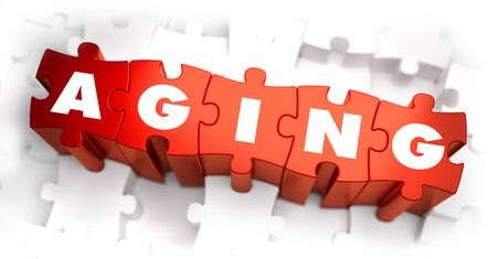 Aging - White Word on Red Puzzles on White Background. 3D Illustration.
