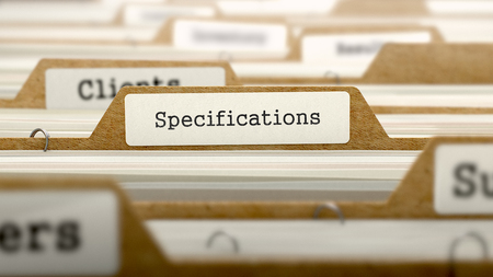 Specifications Concept. Word on Folder Register of Card Index. Selective Focus.
