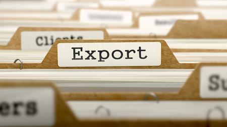 exportation: Export Concept. Word on Folder Register of Card Index. Selective Focus.