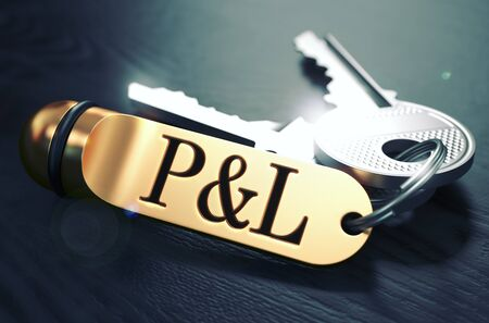 total loss: Profit and Loss - Bunch of Keys with Text on Golden Keychain. Black Wooden Background. Closeup View with Selective Focus. 3D Illustration. Toned Image.