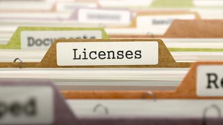 Licencias en la carpeta de negocios en el índice de tarjeta multicolor. Primer punto de vista. Imagen borrosa. Foto de archivo - 45896559