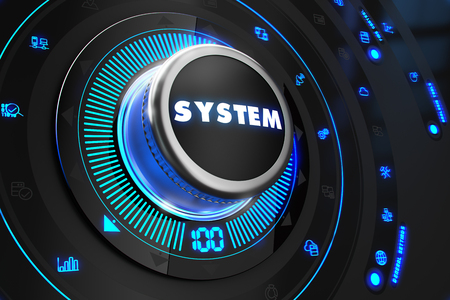 totality: System Controller on Black Control Console with Blue Backlight. Improvement, regulation, control or management concept.