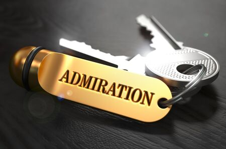 acclaim: Keys with Word Admiration on Golden Label over Black Wooden Background. Closeup View, Selective Focus, 3D Render.