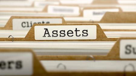 Assets Concept. Word on Folder Register of Card Index. Selective Focus.