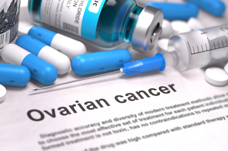ovarian: Ovarian Cancer - Printed Diagnosis with Blue Pills, Injections and Syringe. Medical Concept with Selective Focus.