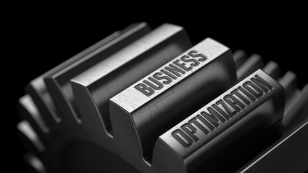 lean machine: Business Optimization on the Metal Gears on Black Background.