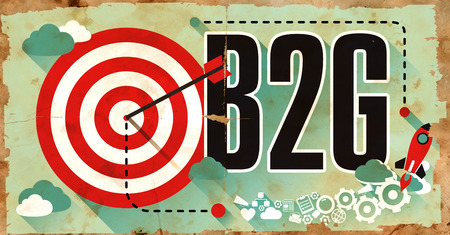 legal tender: B2G Concept on Old Poster in Flat Design with Red Target, Rocket and Arrow. Business Concept. Stock Photo