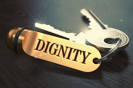 dignidad: Concepto Dignidad. Teclas con oro llavero en mesa de madera Negro. Vista de cerca, foco selectivo, 3D rinden. Imagen virada.