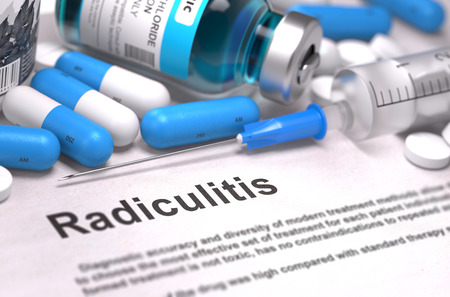 coccyx pain: Diagnosis - Radiculitis. Medical Report with Composition of Medicaments - Blue Pills, Injections and Syringe. Blurred Background with Selective Focus. Stock Photo