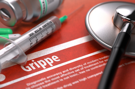 grippe: Diagnosis - Grippe. Medical Concept on Orange Background with Blurred Text and Composition of Pills, Syringe and Stethoscope. Selective Focus. Stock Photo