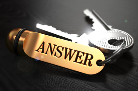 Keys with Word Answer on Golden Label over Black Wooden Background. Closeup View, Selective Focus, 3D Render.