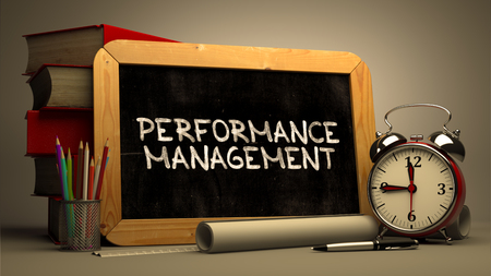 throughput: Hand Drawn Performance Management Concept  on Chalkboard. Blurred Background. Toned Image.