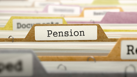 subsidize: Pension Concept on File Label in Multicolor Card Index. Closeup View. Selective Focus.