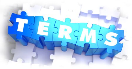 evidence: Terms - White Word on Blue Puzzles on White Background. 3D Render.