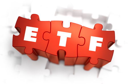 stock market return: ETF - Text on Red Puzzles with White Background. 3D Render.