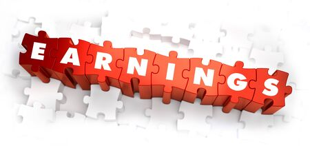 takings: Earnings - Text on Red Puzzles with White Background. 3D Render.
