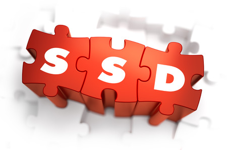 ssd: SSD - Solid State Disk - Text on Red Puzzles with White Background. 3D Render. Stock Photo