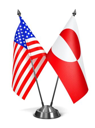 nuuk: USA and Greenland - Miniature Flags Isolated on White Background.