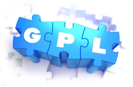 originator: GPL - General Public License - White Word on Blue Puzzles on White Background. 3D Illustration.