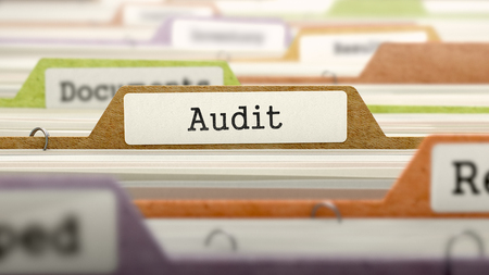 file folder: File Folder Labeled as Audit in Multicolor Archive. Closeup View. Blurred Image.