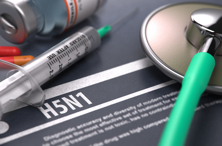 neuraminidase: H5N1 - Printed Diagnosis on Grey Background with Blurred Text and Composition of Pills, Syringe and Stethoscope. Medical Concept. Selective Focus. Stock Photo