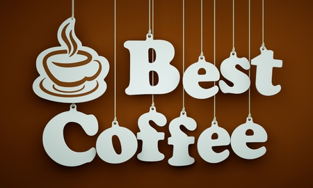 best coffee: Best Coffee - the Word of the White Letters and Silhouette of Cup Hanging on the Ropes on a Brown Background.on the ropes on a brown background.