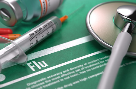 grippe: Flu - Medical Concept with Blurred Text, Stethoscope, Pills and Syringe on Green Background. Selective Focus.