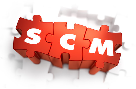 scm: SCM - Supply Chain Management - Text on Red Puzzles with White Background. 3D Render.
