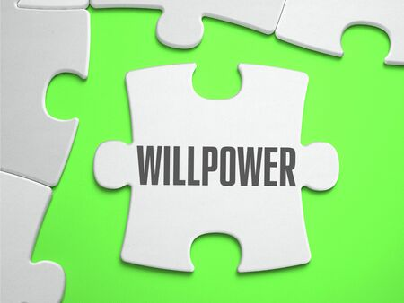 volition: Willpower - Jigsaw Puzzle with Missing Pieces. Bright Green Background. Close-up. 3d Illustration.